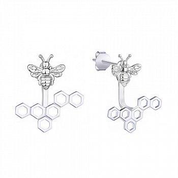 Серебряные серьги-джекеты Пчелы и соты 000113701
