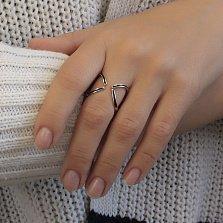 Серебряное кольцо Игры разума с разомкнутой шинкой и черной эмалью