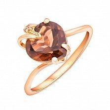 Кольцо в красном золоте Лидия с раухтопазом и фианитами