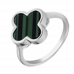 Серебряное кольцо с цветочком из малахита 000107164