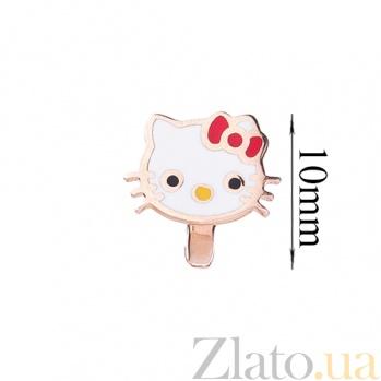Детские золотые серьги с цветной эмалью Китти ONX--с03394