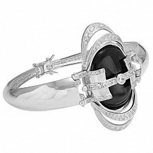 Серебряный браслет Синтия с ониксом, жемчугом и фианитами