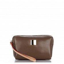 Кожаный клатч Genuine Leather 7723 цвета горький шоколад с короткой ручкой на запястье и молнией