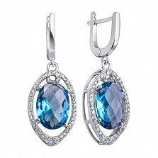 Серебряные серьги Рихарт с синтезированным кварцем синего цвета и белыми фианитами