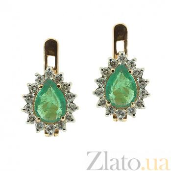 Золотые серьги с бриллиантами и изумрудами Фрида ZMX--EDE-5551_K