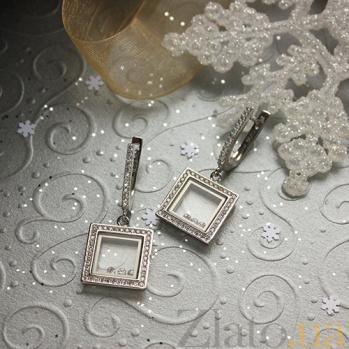 Серебряные серьги-подвески Плавающие камни в квадрате с фианитами 000059258