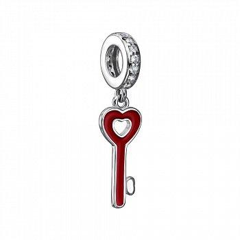 Срібний шарм-підвіска Ключик з червоною емаллю і фіанітами 000116415
