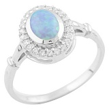 Серебряное кольцо Николина с голубым опалом и фианитами