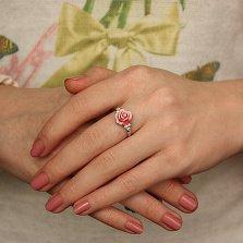Серебряное кольцо Чайная роза из двухцветной полимерной керамики с белыми фианитами
