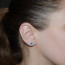 Серебряные серьги-пуссеты Солнышко с голубыми топазами и цирконием, 7мм