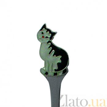 Серебряная чайная ложка с эмалью детская Кот полосатый ZMX--1285_1140