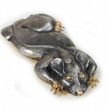 Зажим для денег Крыса из серебра с позолотой