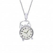 Детское серебряное колье Часы с белой эмалью, 12х17мм