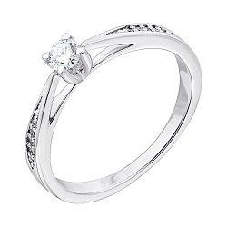 Кольцо в белом золоте Люсьен с бриллиантами