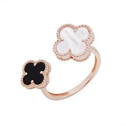 Золотое разомкнутое кольцо Два клевера с черным агатом и перламутром в стиле Ван Клиф