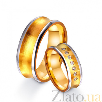 Золотое обручальное кольцо Источник радости с дорожкой из 7 фианитов TRF--4421673