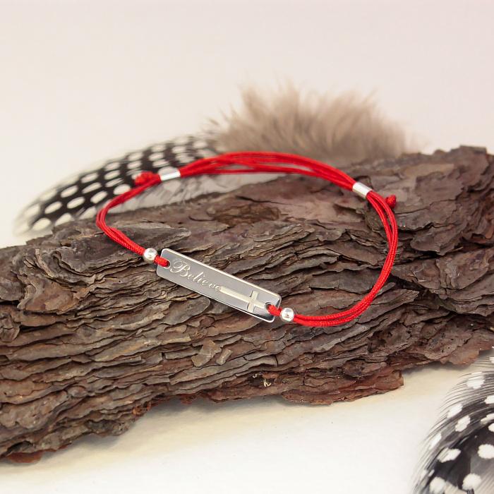 Красный шелковый браслет Believe (Верую) с серебряной вставкой 000079995