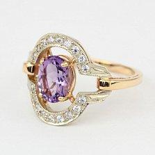 Золотое кольцо с аметистом и фианитами Азерра