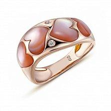 Кольцо в желтом золоте Эмма с перламутром и бриллиантами