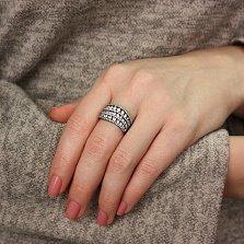 Серебряное кольцо Дороги судьбы с черным родием и белыми фианитами