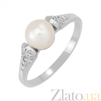 Кольцо из белого золота Маргарита с жемчугом 000023176