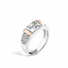Серебряное кольцо Барбара с золотыми накладками и фианитами