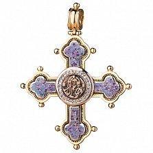 Золотой крест с ювелирной эмалью Молитва