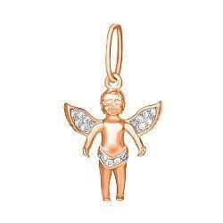 Серебряный подвес Легкокрылый ангелок с фианитами и позолотой