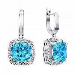 Серебряные серьги-подвески с голубым цирконием 000029105