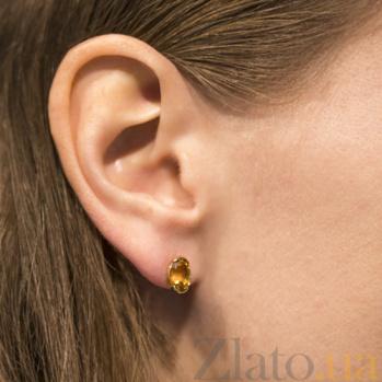 Серьги-пуссеты из желтого  золота Амур с цитрином SVA--2190837103/Цитрин