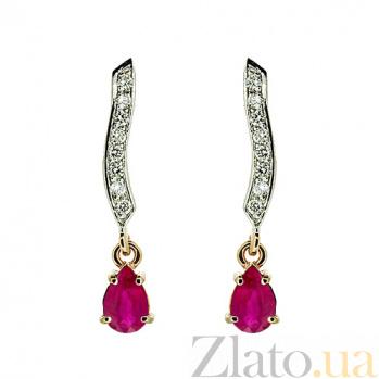 Золотые серьги с бриллиантами и рубинами Тея ZMX--EDR-6864_K