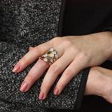 Серебряное кольцо Грациния с цветной позолотой и цирконием