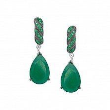 Серебряные серьги-подвески Римма с зеленым агатом и зелеными фианитами