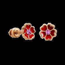 Детские золотые сережки-пуссеты Цветочек 5 сердец с розовыми сапфирами и эмалью