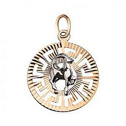 Кулон в комбинированном цвете золота Знак Зодиака Козерог с насечками 000001317