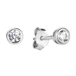 Серебряные пуссеты с завальцованным цирконием 000106880