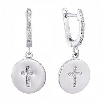 Серебряные серьги-подвески с крестиками и фианитами 000114055