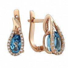 Золотые серьги Дианис с голубым топазом и фианитами