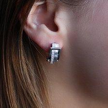 Серебряные серьги с бриллиантами Амели