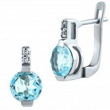 Серебряные серьги Бианка с голубым топазом и фианитами