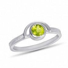 Золотое кольцо Сатурн в белом цвете с завальцованным хризолитом