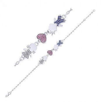 Серебряный браслет с розовыми, синими и белыми фианитами с родированием 000058405