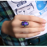 Серебряное кольцо с имитацией опала Этюд