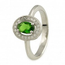 Серебряное кольцо Джемма с зеленым и белыми фианитами