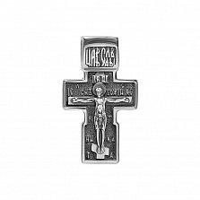 Серебряный строгий крест Оранта с чернением и Богородицей на тыльной стороне