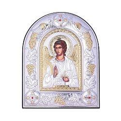 Посеребренная икона Ангел Хранитель на подставке 000131801