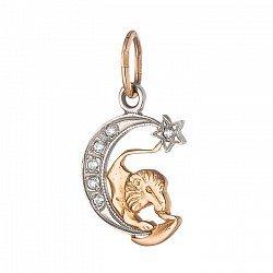 Золотой подвес знак Зодиака Лев на луне с фианитами 000071563