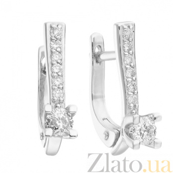 Серьги из белого золота с бриллиантами Авия E 0578-2
