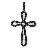 Крестик из белого золота Мари с белыми и черными бриллиантами