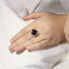 Золотое кольцо Фокус с раухтопазом шахматной огранки и фианитами